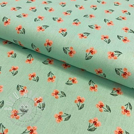 Cotton fabric GOTS Flowers posy mint