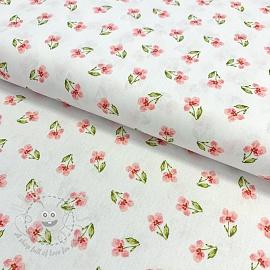 Cotton fabric GOTS Flowers posy white