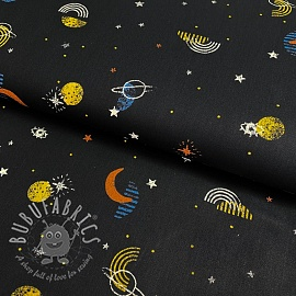 Cotton fabric GOTS Galaxy black