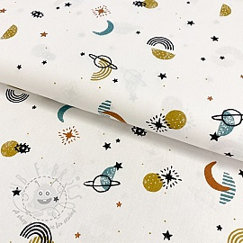 Cotton fabric GOTS Galaxy white