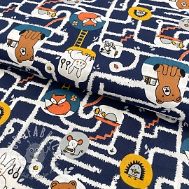 Cotton fabric GOTS Living underground navy