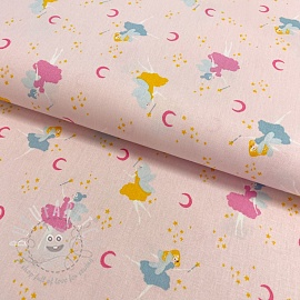 Cotton fabric GOTS Magical night light rose