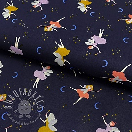 Cotton fabric GOTS Magical night navy