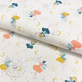 Cotton fabric GOTS Magical night white