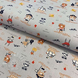 Cotton fabric GOTS Pirates light grey