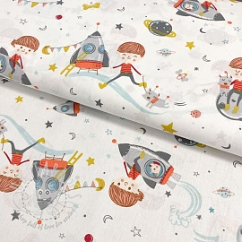 Cotton fabric GOTS Prince in space white