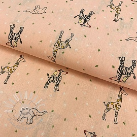 Cotton fabric GOTS Sweet animals light salmon