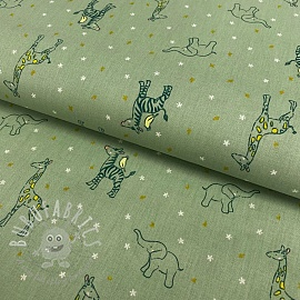 Cotton fabric GOTS Sweet animals mint
