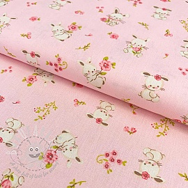Cotton fabric GOTS Sweet bunny light rose