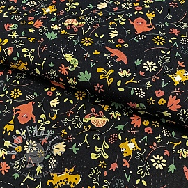 Cotton fabric GOTS Welcome to the jungle black