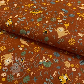 Cotton fabric GOTS Welcome to the jungle terra cotta