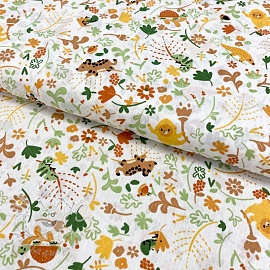 Cotton fabric GOTS Welcome to the jungle white