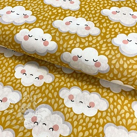 Cotton fabric Happy clouds ochre