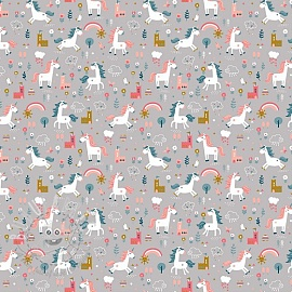 Cotton fabric Happy horse grey