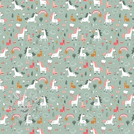 Cotton fabric Happy horse old green