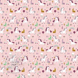 Cotton fabric Happy horse rose