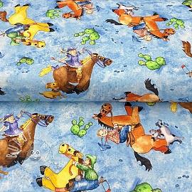 Cotton fabric HORSIN AROUND Character scenic blue