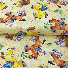 Cotton fabric HORSIN AROUND Character scenic cream