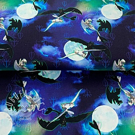 Cotton fabric How to train your dragon Moonlight digital print