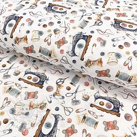 Cotton fabric I love sewing digital print