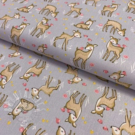 Cotton fabric In the forest grey