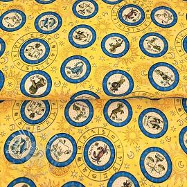Cotton fabric INTERGALACTIC Zodiac medaillons sun