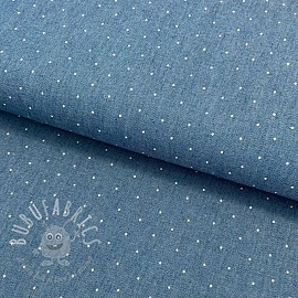Cotton fabric JEANS Dots bleached white