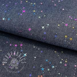 Cotton fabric JEANS Multicolour foil dark blue