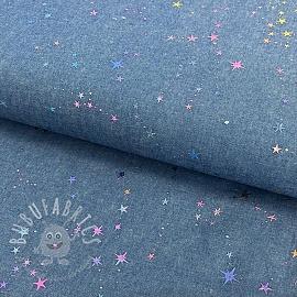Cotton fabric JEANS Multicolour foil light blue