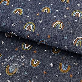 Cotton fabric JEANS Rainbow indigo