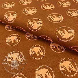 Cotton fabric Jurrasic world cognac digital print