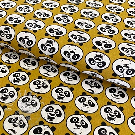 Cotton fabric KUNG FU PANDA Moods ochre