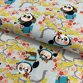 Cotton fabric KUNG FU PANDA Sakura lady light grey