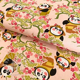Cotton fabric KUNG FU PANDA Sakura lady old rose