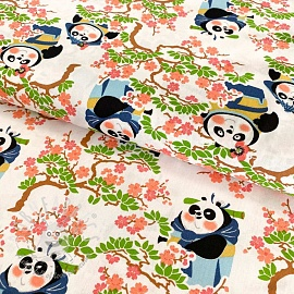 Cotton fabric KUNG FU PANDA Sakura lady white