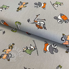 Cotton fabric KUNG FU PANDA Training grey