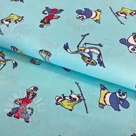 Cotton fabric KUNG FU PANDA Training sky blue