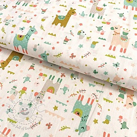 Cotton fabric Lama cactus party white