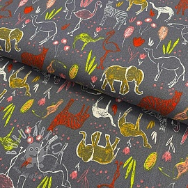 Cotton fabric Let's go on Safari grey