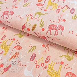 Cotton fabric Let's go on Safari light pink