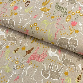 Cotton fabric Let's go on Safari sand