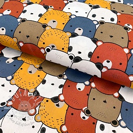 Cotton fabric Little Bears jeans