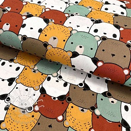 Cotton fabric Little Bears old green