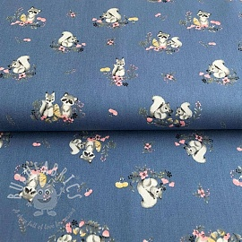 Cotton fabric Little friends blue