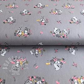 Cotton fabric Little friends dark grey