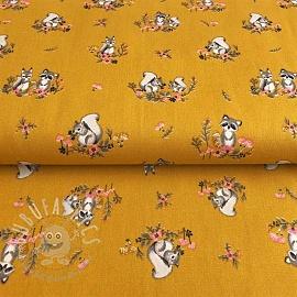 Cotton fabric Little friends ochre