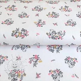 Cotton fabric Little friends white