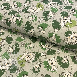 Cotton fabric Little lion green