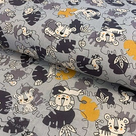 Cotton fabric Little lion grey