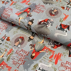 Cotton fabric Little red riding hood grey digital print